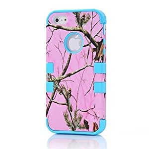 LX 3 in 1 Straw Grass Mossy Camo Hybrid Hard Silicone Full Body Cover Case for iPhone 5 Color Purple