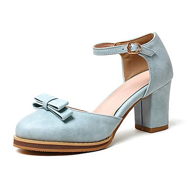 Sandalias Primavera Verano Otoño Club calzado sintético PU Oficina & Carrera parte & traje de noche Chunky talón Bowknot Azul Negro Plata Rosa Blue
