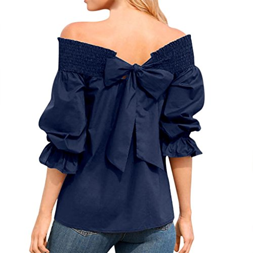 Rambling New Sexy Off Shoulder T-Shirts for Women, Unique Puff Sleeve Backless Bow Bandage Blouse