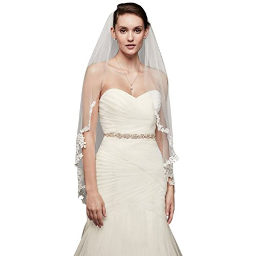 Corded Lace Edge Fingertip Veil Style V402, Ivory by David's Bridal