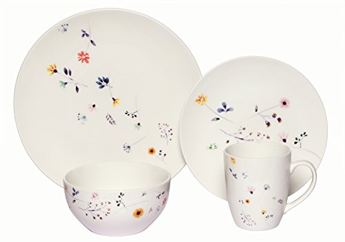 Flower Coupe Soup Bowl - Melange Coupe 16-Piece Porcelain Dinnerware Set | Scattered Wildflowers Collection | Service for 4 | Microwave, Dishwasher & Oven Safe | Dinner Plate, Salad Plate, Soup Bowl & Mug (4 Each)