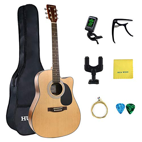 Acoustic Guitar, HUAWIND 41 inch Full-size Cutaway Acoustic Guitar Bundle Beginner Kit w/Gig Bag Capo Strings Polishing Cloth Picks Tuner Wall Mount