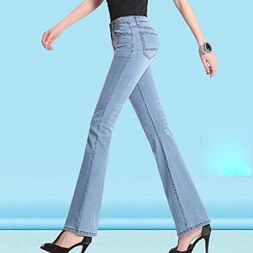 Up Stretchy Femmes Jeans ADEMI Ladies Flare Trousers Jeans Haute pour Pants Zip 45 Taille Blue2 qZ8qw