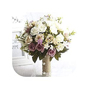 mamamoo Bridal Bouquet European Chaise Longue Roses, Flowers, Home Decoration, Emulation, Wedding Bouquet 54