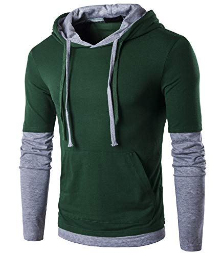 QPNGRP Mens Hoody Shirt Casual Slim-Fit Hoodie T-Shirt B26 Darkgray X-Large by QPNGRP