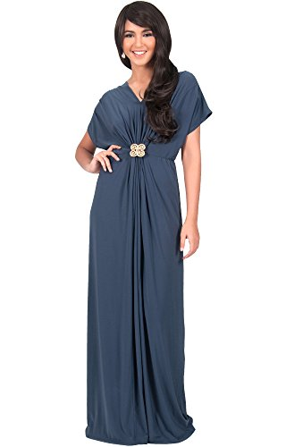 30ee208f2cc KOH KOH Womens Long Floor Length V-neck Short Sleeve Flowy Summer Spring  Party Bridesmaids Semi Formal Maternity Prom Wedding Gown Gowns Maxi Dress  Dresses