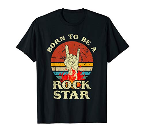 Born To Be Rock Star T-Shirt Hand Horns Vintage Retro Tee (Rock Tee Boys)