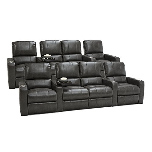 SEATCRAFT Millenia Leather Home Theater Seating Power Recline, Two Rows of 4 with Middle Loveseat, Grey