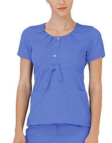 366248db956 Adar Indulgence Womens Jr Fit Scoop Neck Pleated Scrub Top - 4200 - Ceil  Blue -