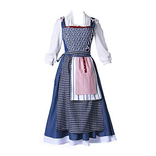 iCos Women Cotton Blue Village Dress Belle Maid Set Outfit Halloween Costume Adult (Medium)]()