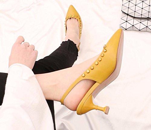 GTVERNH-Der Neue 6 Cm Hohen Absätzen Absätzen Absätzen Weiblich Stilvoll Licht In Die Spitze Katze Mit Schuhe Sexy Wild Nieten Leer Geschlitzten Lasche Einzelne Schuhe 68000f