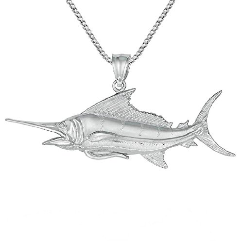 Sterling Silver Marlin - Sterling Silver BLUE MARLIN Pendant, Made in USA, 18