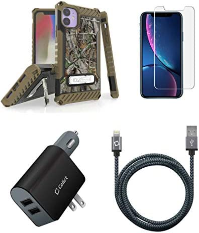 [해외]BC Tri Shield Military Grade Shockproof Stand Case (Camo) Bundle: Tempered Glass Screen Protector UL Certified 10W CarWall Charger MFI Lightning USB Cable (10-Foot) Compatible with Apple iPhone 11 / BC Tri Shield Military Grade Sho...