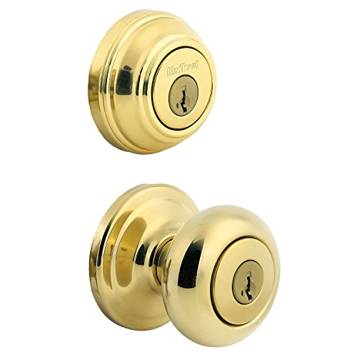 Polished Brass Finish Accents - Kwikset 991 Juno Entry Knob and Single Cylinder Deadbolt Combo Pack featuring SmartKey in Polished Brass