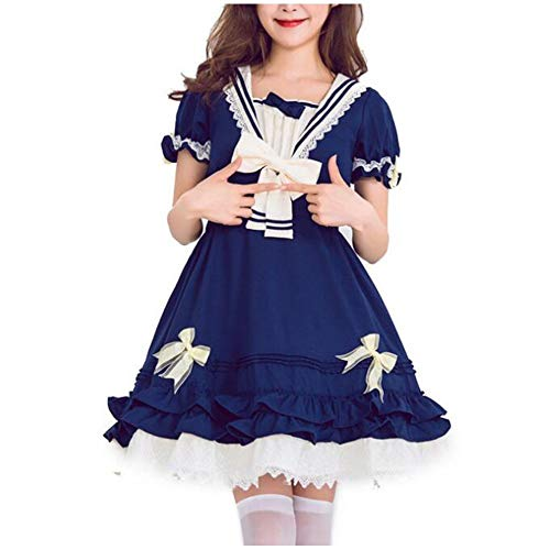 Disney Princess Halloween Costumes College (SHENYI-Halloween Costumes Ladies Anime Lolita Dress Summer Navy Suit College Wind Daily Cospaly Princess Dress Halloween Carnival Night (Color : A, Size :)