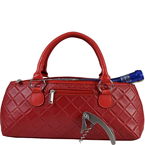 Primeware Wine Clutch Bag (Thermal Insulated) Trendy Womens Carry Tote   Holds Red & White 750mL Bottles   Trendy Fashion   Incl. Portable Waiter-Style Corkscrew