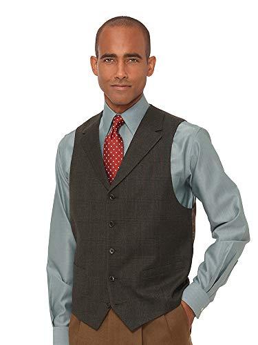 Paul Fredrick Men's Wool Glen Plaid Vest Olive 48 -