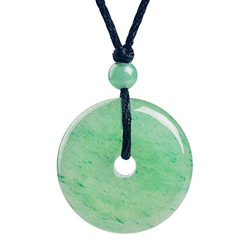 Aventurine Donut (iSTONE Jewelry Green Aventurine Donut Pendant Necklace 24'' Black Rope Chain)
