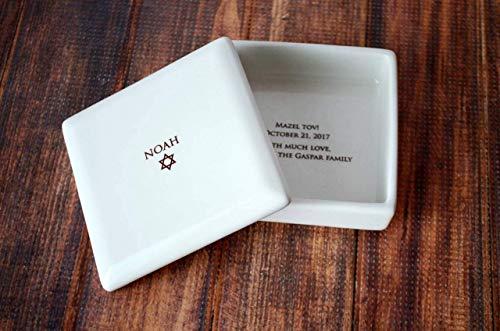 - Personalized Bar Mitzvah Gift or Bat Mitzvah Gift, Jewish Gift, Star of David Gift - Square Keepsake Box