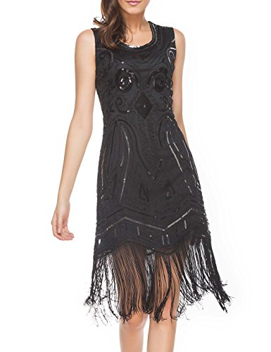 (Women's Art Nouveau Deco Flapper Dresses- Vintage Beaded Sequin Fringed Cocktail Gatsby Dresses)