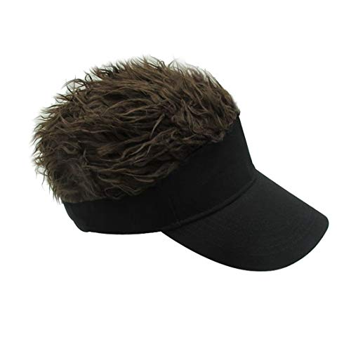 Kafeimali Men's Novelty Adjustable Visor Wig Skull Turban