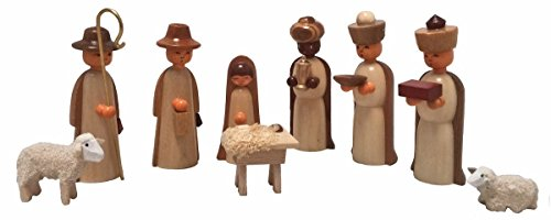German Wood Miniature Nativity Scene Figurine Set of 9 Wood Box Made in Germany
