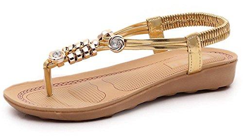 Mujer zapatos Gold diamantes inferiores Xia sandalias cuentas tanga la Sra sandalias de de Jiping de sandalia qTpaEE