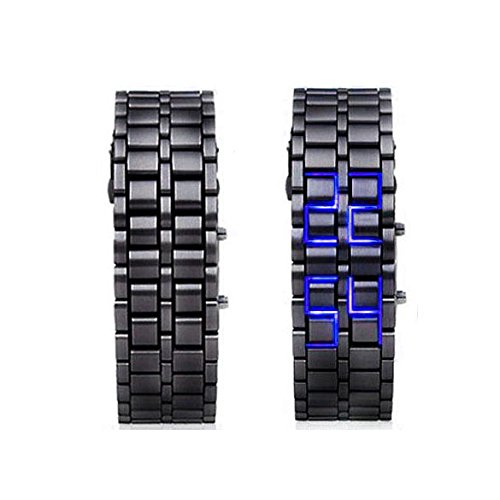 Hot Metallic Black Lava Faceless Blue LED Volcanic Men Lady Bracelet Wrist Watch