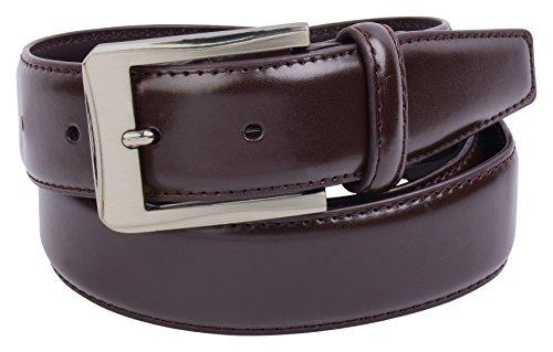 Mens Brown Leather Belt by Vellette (32, BR144) (32 Leather)