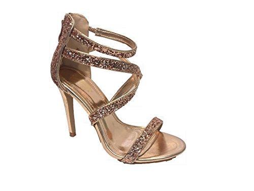 Womens Ladies Diamante Sandals Sparkly High Heel Strappy Stiletto Prom Party Wedding Bridal Size 3-8 Champagne jXgI0