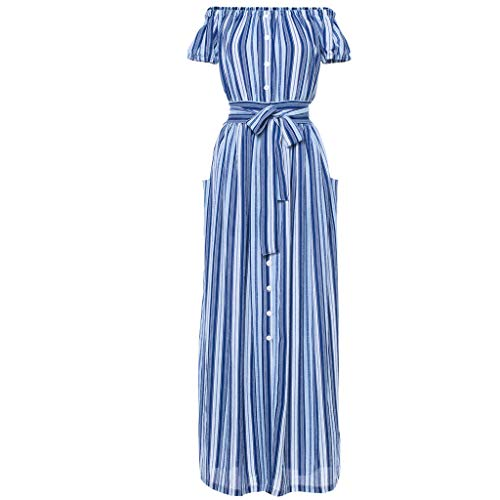 Pengy Women's Bohemia Dress Travel Stripe Skirt Shoulder-Length Dress Ladies Beach Skirt Evening Dress Blue]()