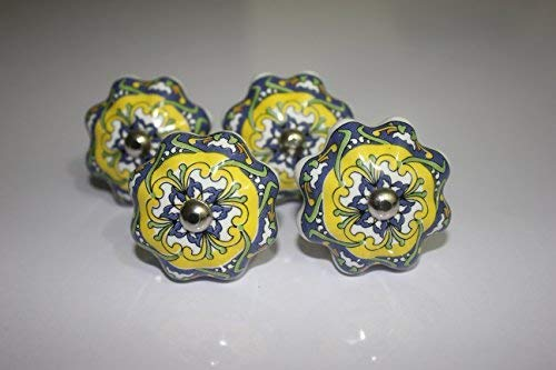Set of 4 Knobs Mehandi Style Ceramic knobs Handmade Cabinet pulls Cupboards nob Dresser dekorative Drawers