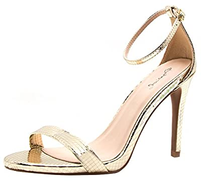 Qupid Women's Grammy-01 Dress Sandal,Champagne Texture PU (10)
