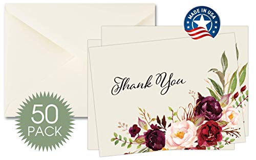 50 Funeral Thank You Sympathy Acknowledgement Watercolor Floral Note Cards WITH INSIDE MESSAGE includes matching Envelopes, Bulk Funeral Thank You Notes