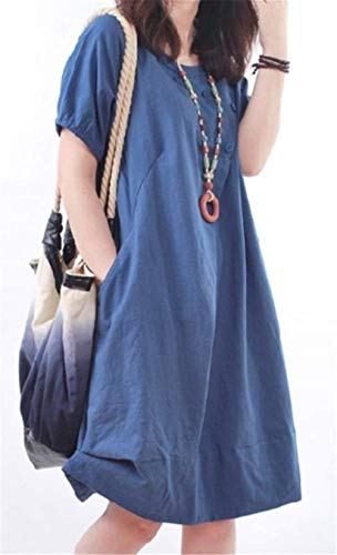 algodón para Blue Flare de Alto tamaño Medio Corta Color Cuello Navy Elegante de Manga de Medio Haokan Vestido Mujer Lino vwnqOvxF