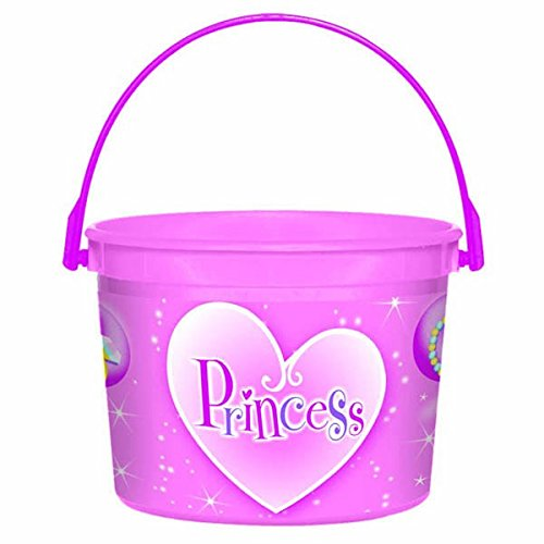 Set Princess Bucket (Amscan Sparkling Princess Plastic Birthday Party Favor Bucket (1 Piece), 4 1/2