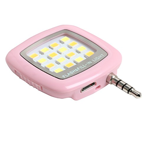 Photron FL100 Portable 16 LED Selfie Enhancing Dimmable Flash Fill-in Light,  Torch (Pink) …