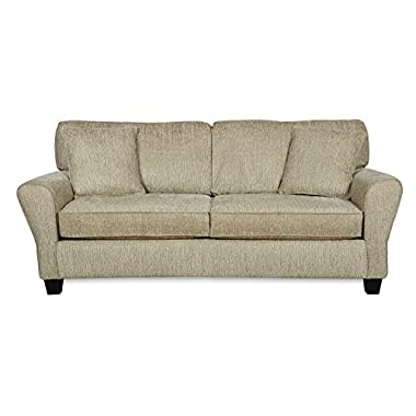 Living Room Sofa Couch w/ Two Accent Pillows - Upholstered Fabric|Contemporary Casual Design|Three Person Seat by ExceptionalSheets, Council Pewter