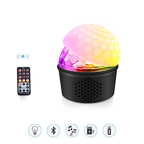 MICTUNING Sound Activated Party Lights with Wireless Bluetooth Speaker, 9 Colors Disco Ball Strobe Light USB Powered Remote Control LED Stage Light for Kids Bedroom Wedding Party Birthday