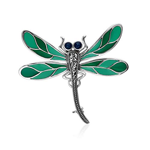 Gemondo 925 Sterling Silver Marcasite With Green Enamelling Dragonfly Brooch