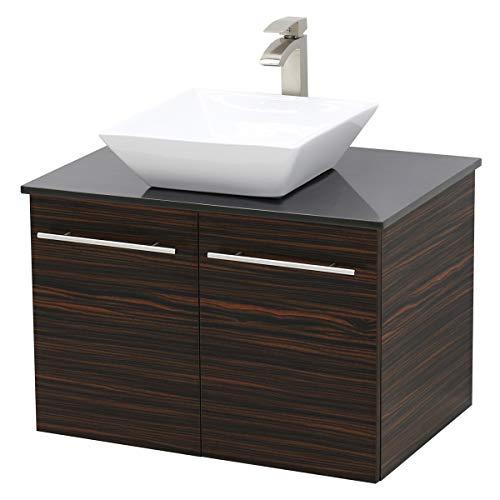 - WindBay Wall Mount Floating Bathroom Vanity Sink Set. Ebony Vanity, Black Flat Stone Countertop Ceramic Sink - 24