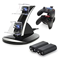 Xbox One / One S Controller Charger. Xbox One Dual Docking Charging Station Stand with 2 x Rechargeable Battery Packs, Black