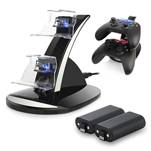 Xbox One / One S Controller Charger. Xbox One Dual Docking Charging Station Stand with 2 x Rechargeable Battery Packs