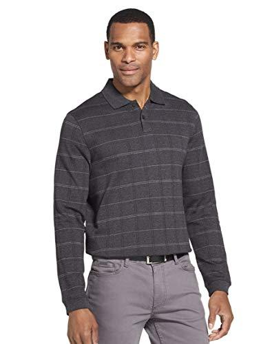 Van Heusen Men's Flex Classic-Fit Long Sleeve Windowpane Polo (Black, Large)