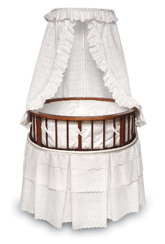 Elegance Round Wooden Baby Bassinet with Bedding, Canopy, and Storage ()