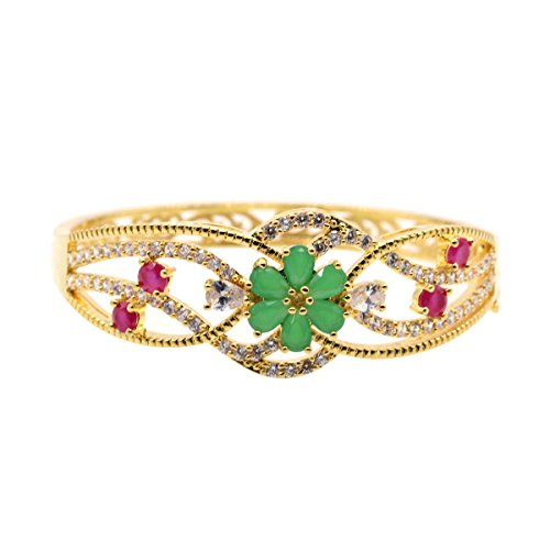 Gold 24k Plated Crystal Austrian (JINY Jewelry 24K Gold Plated Bangle Bracelet with Red Ruby Emerald Austrian Preciosa Crystals for Women (Green, 24K Gold Plated))