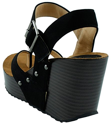 Studded Cambridge Ankle Thong Strappy Wedge Buckle Black Platform Womens Sandal Select EPqgrwP6