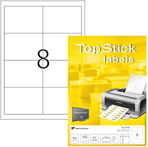 TopStick 8739 Universele etiketten DIN A4 groot 965 x 677 mm 100 vellen papier mat zelfklevend bedrukbaar permanent hechtend adresstickers 800 zelfklevende etiketten wit
