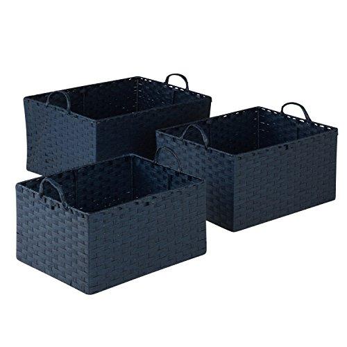 Honey-Can-Do STO-03739 Juego de 3 Canastas de cuerda de Papel, Pequeña a Grande, Azul, 3 Unidades