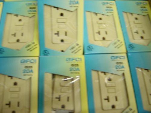 WHITE Gfi Gfci Outlet 20 Amp 120 V 10 Pack Ivory